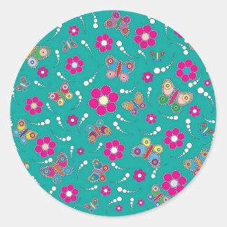 pattern butterfly round sticker