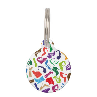 Pattern colorful Women's shoes Pet ID Tag