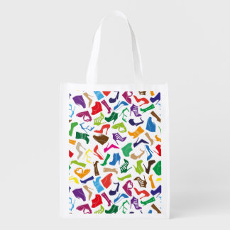 Pattern colorful Women's shoes Reusable Grocery Bag