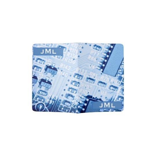 Pattern Created with a Blue Motherboard Passport Holder