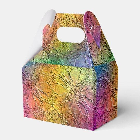 Pattern Embossed Rainbow Wedding Favor Box
