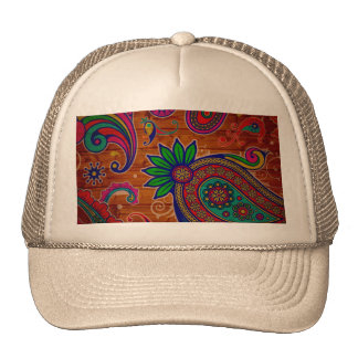 Pattern floral Colorful Wood Texture Background Trucker Hat
