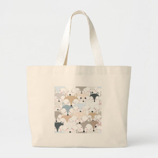 Pattern foxy comic cartoon large tote bag
