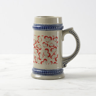 Pattern illustration peace doves with heart beer stein