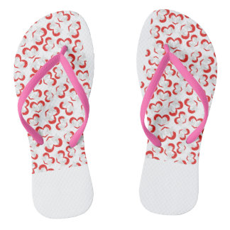 Pattern illustration peace doves with heart flip flops