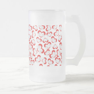 Pattern illustration peace doves with heart frosted glass beer mug