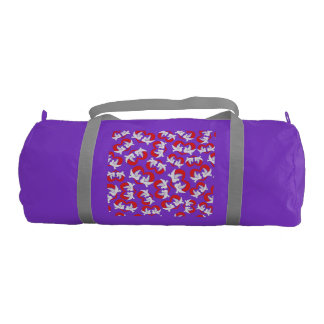 Pattern illustration peace doves with heart gym bag