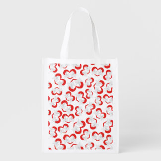 Pattern illustration peace doves with heart reusable grocery bag