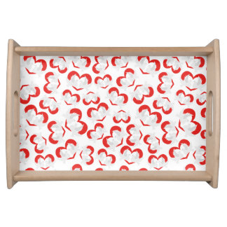 Pattern illustration peace doves with heart serving tray