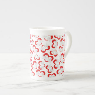 Pattern illustration peace doves with heart tea cup
