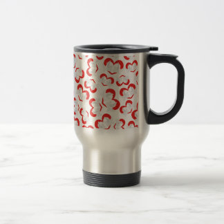 Pattern illustration peace doves with heart travel mug
