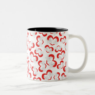 Pattern illustration peace doves with heart Two-Tone coffee mug