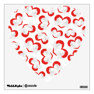 Pattern illustration peace doves with heart wall sticker