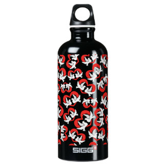 Pattern illustration peace doves with heart water bottle