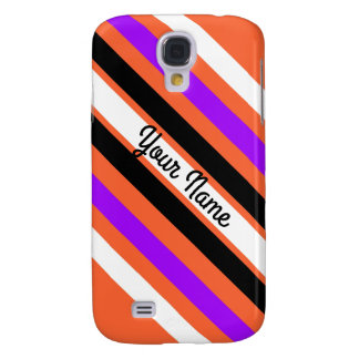Pattern in Black White Violet Orange Stripes