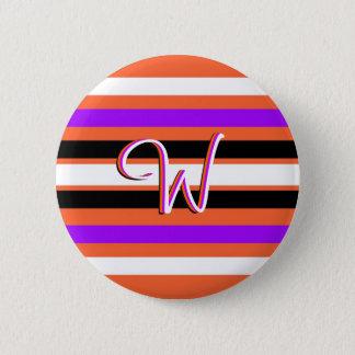 Pattern in Black White Violet Orange Stripes 2 Inch Round Button