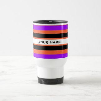Pattern in Black White Violet Orange Stripes Travel Mug