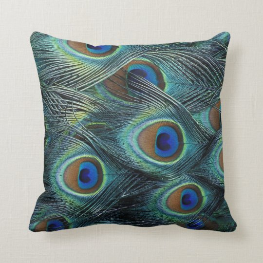 Pattern in male peacock feathers throw pillow