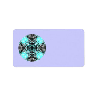 Pattern in Turquoise and Black, on Lilac Purple. Label
