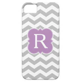 Pattern Lavender and Gray Monogram Chevron Case For The iPhone 5