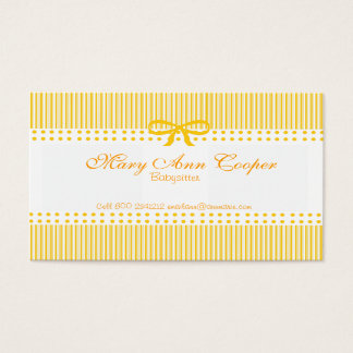 Pattern Mustard Yellow Babysitter Child Care Business Card