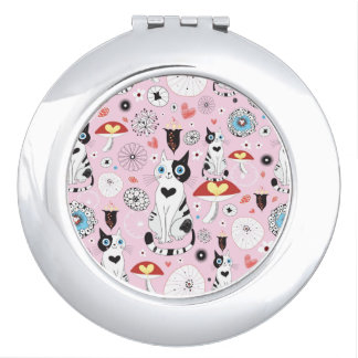 pattern of cats and flowers makeup mirror