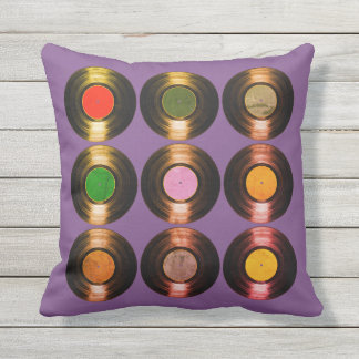 pattern of color vinyl records cool throw pillow