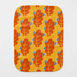 Pattern of Cute Bugs Eating Autumn Leaves Burp Cloth