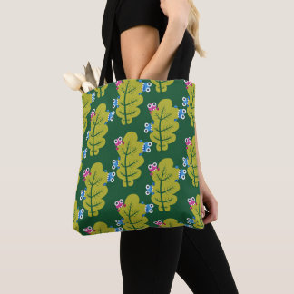 Pattern of Cute Bugs Eating Spring Leaves Tote Bag