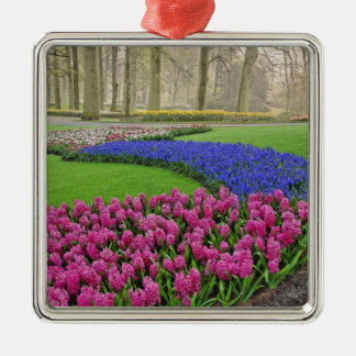 Pattern of Grape Hyacinth, tulips, and 2 Silver-Colored Square Ornament