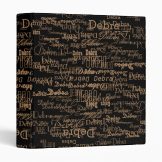 pattern of names . unique and personalized black vinyl binders