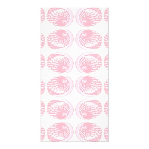 Pattern of Pastel Pink Shells. Photo Card Template