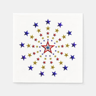 Pattern of Patriotic Stars Paper Napkins