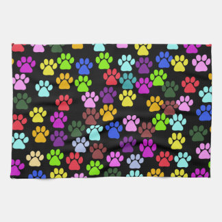 Pattern Of Paws, Dog Paws, Trails - Red Blue Green Kitchen Towel