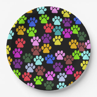 Pattern Of Paws, Dog Paws, Trails - Red Blue Green Paper Plate