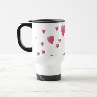 Pattern of Pretty Pink Love Hearts. Travel Mug