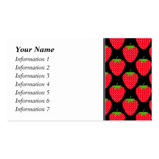 Pattern of Red Strawberries on Black Business Card