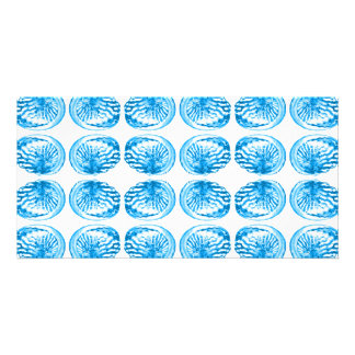 Pattern of Shells in Bright Blue. Personalized Photo Card