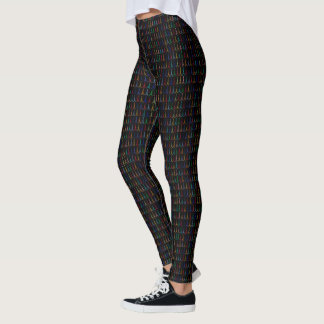 pattern of small & colorful Eiffel Towers on black Leggings