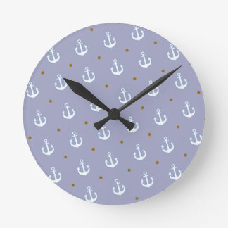 pattern of small white anchors clocks