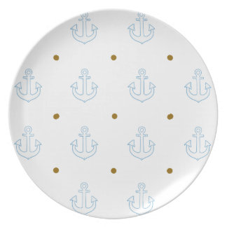 pattern of small white anchors plate
