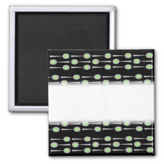 Pattern of Spoons, with Green Splat. On Black. Fridge Magnet