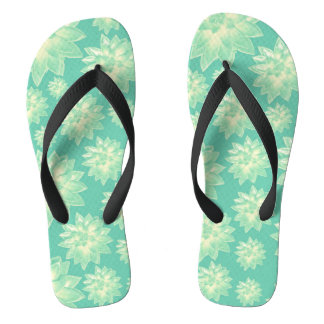 Pattern of succulents flip flops