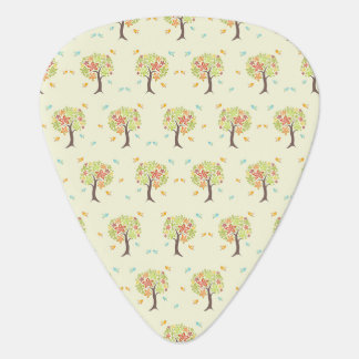 Pattern of trees and birds guitar pick