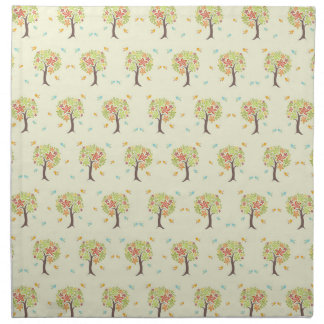 Pattern of trees and birds napkin