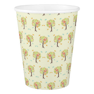 Pattern of trees and birds paper cup