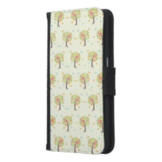 Pattern of trees and birds samsung galaxy s6 wallet case