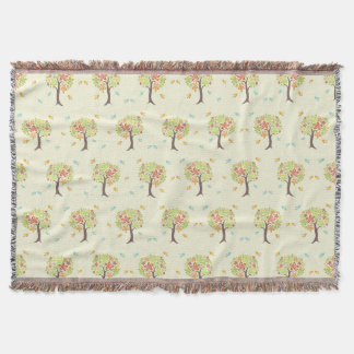 Pattern of trees and birds throw blanket