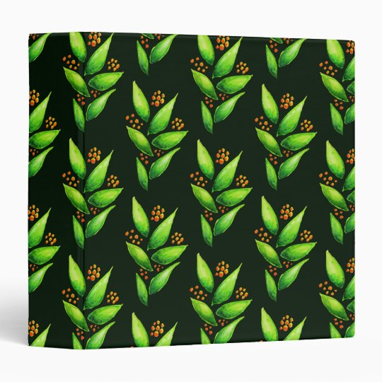 Pattern Of Watercolor Green Plants With Berries 3 Ring Binder