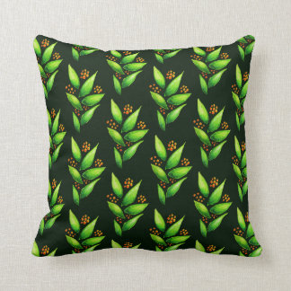 Pattern Of Watercolor Green Plants With Berries Throw Pillow